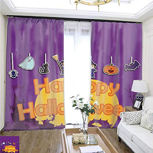 Window hangings Cute Happy Halloween Background Vector Illustration W108 x L78 1737 Loop Curtain Panels Highprecision Curtains for bedrooms Living Rooms Kitchens etc. ()