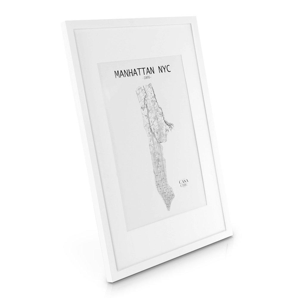 Cadre A2 (42 x 59,4 cm) en Bois MASSIF - pour Dessins / Affiches / Posters / Photos en format A2 - Passe-Partout pour Photos A3 (29,7x42 cm) inclus - Vitre en PLEXIGLAS - Profil de Cadre 2 cm ! - Blanc product image