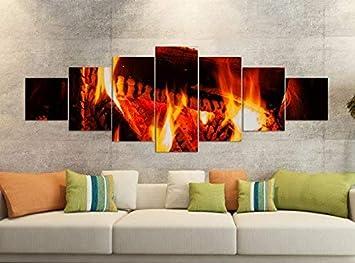 Foto en Lienzo 7 Piezas 280x100cm Hoguera Fuego Estufa Madera Fotos de Lona Piezas Piezas Impresión Artística Impresión Vellón Mural de Varias Partes 9YB231 ...