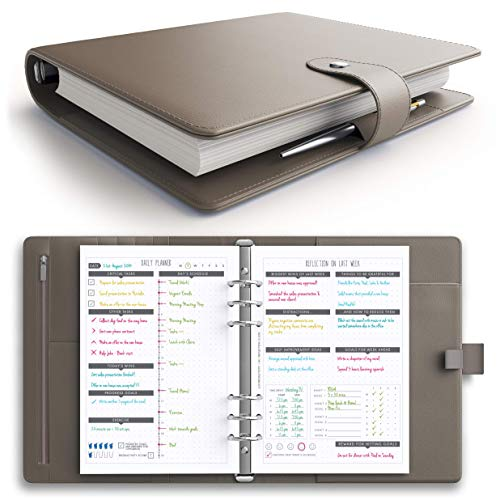 [MSRP $50 - New - Flash Sale] LUX PRO Productivity Planner - Best A5 Undated Diary/Organizer with Daily Schedule & Reflection Journal - Manage Time/Projects/Finances - Goals & Gratitude (Cappuccino)