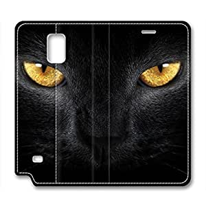 Samsung galaxy note 4 leather case,custom galaxy note 4 Flip Case,An angry black cat