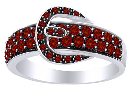 - AFFY Round Cut Simulated Red Garnet Belt Buckle Ring in 14k White Gold Over Sterling Silver Ring Size 9