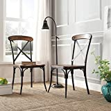 Contemporary Nelson Industrial Modern Rustic Cross Back ,Black, Brown Dining Chair (Set of 2) For Sale