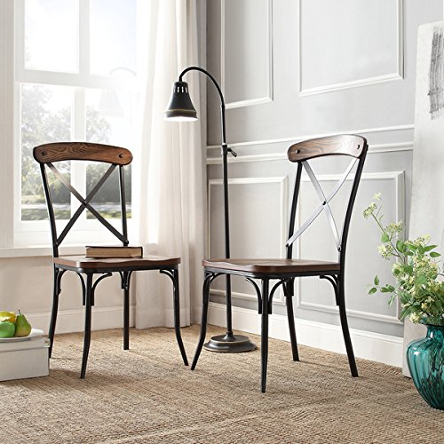 Black Contemporary Cross - Contemporary Nelson Industrial Modern Rustic Cross Back ,Black, Brown Dining Chair (Set of 2)