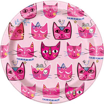 Standard - Serves 16 Banner Decoration and Sticker Pink Kitty Cat Birthday Party Supplies Set Cups Plates Tablecloth Napkins