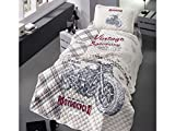 Bekata Vintage Speedway, 100% Cotton Single-Twin/Twin XL Bedspread/Coverlet Set, Motorcycle Bedding Bed Cover, 2 PCS