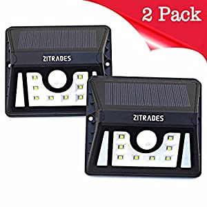 Zitrades Solar Lights LED Solar Security Light Motion Sensor Solar Powered Wall Lights 8 LED Outdoor Lighting Weatherproof for Patio Garden Home Deck Back Yard Driveway Stairs Outside Walkway 2 pack
