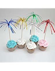 Assorted Colors 9 Foil Frills Food Picks Fireworks Cupcake Topper for Birthday Party Baby Shower Pack of 100 by Shxstore
