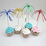 Assorted Colors 9'' Foil Frills Food Picks Fireworks Cupcake Topper for Birthday Party Baby Shower Pack of 100 by Shxstore
