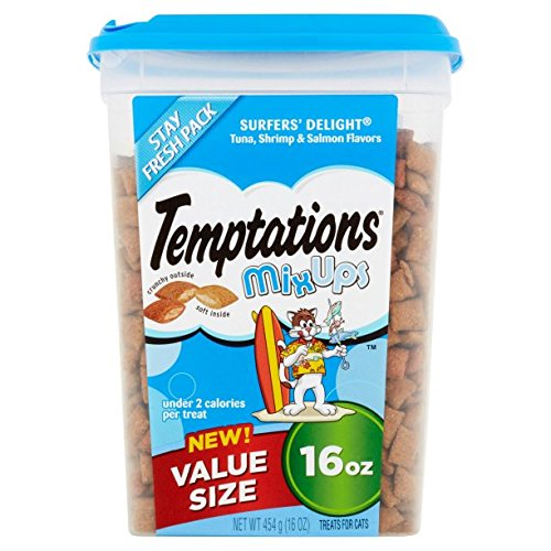 TEMPTATIONS MixUps Cat Treats (Tuna, Shrimp, Salmon, 16 oz. - Pack of 6)