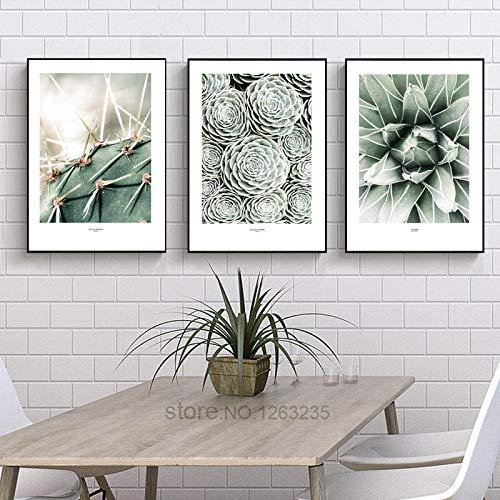 Cartel nordico Cactus Imagenes de Pared para Sala de Estar Plantas Verdes Arte de la Pared Pintura Cuadros Imagen Carteles Planta 35 50cm 3