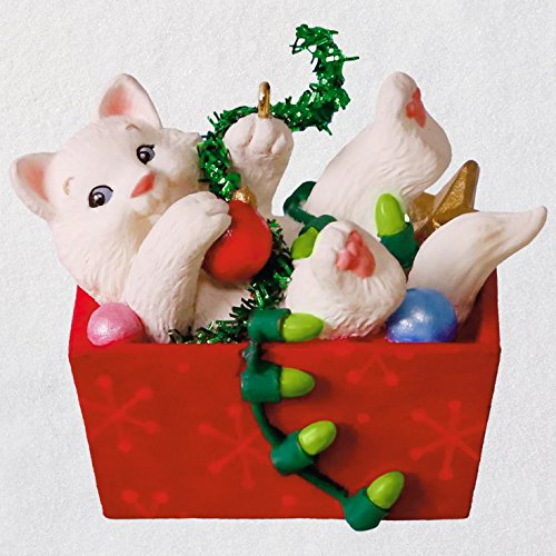 Hallmark Keepsake Christmas Ornament 2018 Year Dated White Cat, Mischievous Kittens