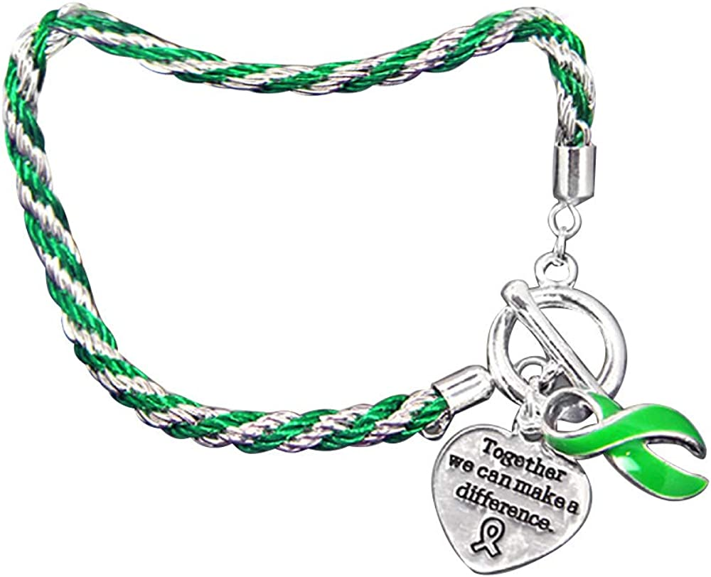 "Fundraising For A Cause | Green Ribbon Awareness ""Together We Can Make A Difference"" Charm Bracelet - Rope-Style Charm Bracelet for Organ Donation, Cerebral Palsy, Mental Health, Lyme Disease, & Lymphoma Awareness (1 Bracelet)"