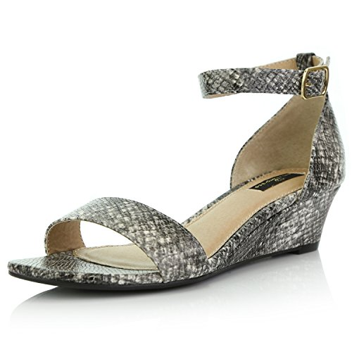 edge Open Toe Strap Chunky Heel Sandal Fashion Shoes, Black White Snake PU, 9 B(M) US ()