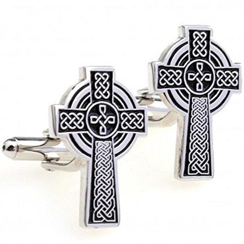 Religious Cross Cufflinks (Jesus Cross Men's Cufflinks Catholic Cross Celtic Cuff Links Silver and Black One)