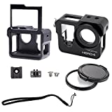 CJRSLRB C200 Aluminium Metal Skeleton Thick Solid Protective Case Shell with Rear Cover Safety buckle & 37mm UV Lens Filter for Gopro Hero 4 Camera