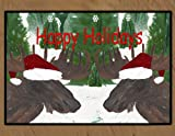 Christmas Area Rugs Floor Mats (Santa Moose, 36 x 60)