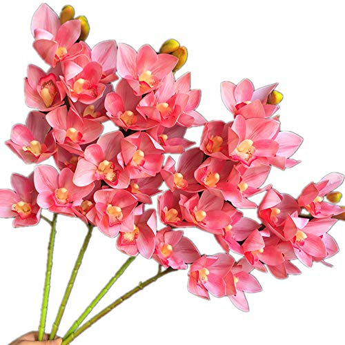 jiumengya 4pcs Latex phalaenopsis Orchid 10 Heads Cymbidium Flower Plant Artificial Real Touch 7 Color Butterfly Orchid 30