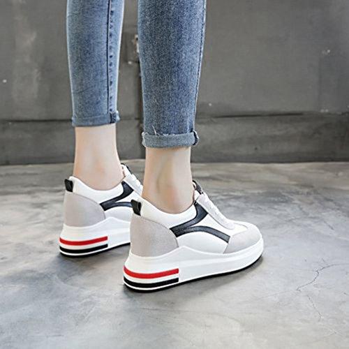 7 à 34 Haute cm Loisir Compensé Chaussures Printemps Femme Talon Mocassins JRenok Casuel 39 Noir Sneakers Cuir q7zSvfw6