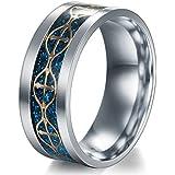 Men Titanium Stainless Steel Wedding Band Black Silver Gold Ring Women Size 6-13 (7)