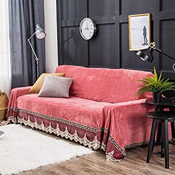 Love In The House Plush Sofa Slipcover,1 Piece Vintage Lace Suede Couch  Cover Anti Slip Furniture Protector For 1 2 3 4 Cushions Sofas Coral Red ...