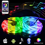 Music Bluetooth Led Light Strip Smart-Phone Controlled 32.8ft Waterproof SMD5050 300LEDs with 12V Power Supply for Indoor Decor Party and Bar