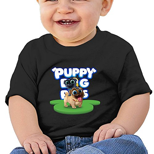 Ssuac Yi66 Puppy Dog Lovely Pals Baby Perfect Short Sleeve Tank Top Cotton T-Shirt Black 18 Months