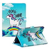 Funyye Soft PU Leather Case for iPad 5/Air,Magnetic Clasp Flip Kickstand Cover Premium Wallet Cards Slots with Money Holder Lightweight Smart Shell case for iPad 5/Air,Rainbow Horse