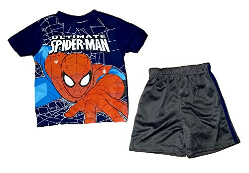 Marvel Spiderman Boys T Shirt and Mesh Shorts Outfit - Blue Red Black