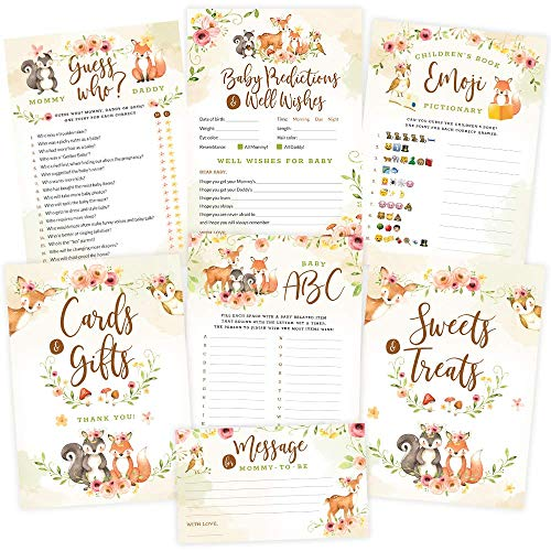Baby Shower Games - Woodland Animals, Neutral for Boy or Girl (5 Activities x 50 Guests) - 2 Signs, Baby Advice and Predictions, Emoji, Guess Who Games - Rustic Woodland Baby Shower Decorations]()