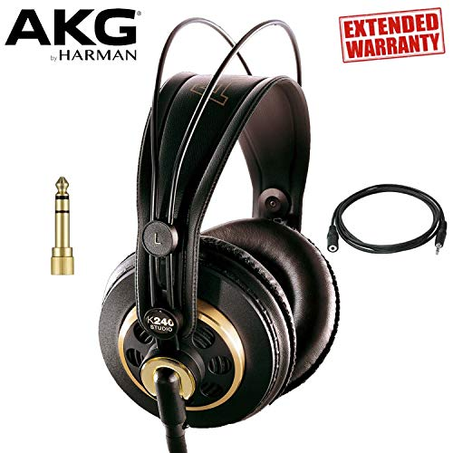AKG Professional K240 Studio Over-Ear Semi-Open Professional Headphones with Headphone Extender and 1-Year Extended Warranty ()