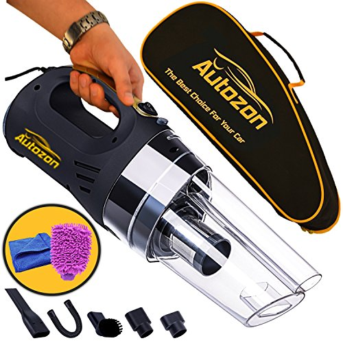 Autozon Car Vacuum Cleaner High Power 12v DC 150W 4500PA Suction with LED Light Portable Handheld Auto Vacuum Wet Dry 14FT(5M) Power Cord. Free Bonus - Carrying Bag + Car Wash Mitt +Microfiber Towel