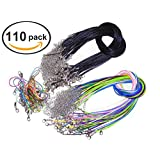Ceeyali 50pcs Black + 40pcs Colored Waxed Cotton Necklace Cord with Chain and 20pcs Lobster Claw Clasp