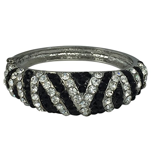 Gypsy Jewels Animal Print Striped Rhinestone Statement Hinged Bangle Bracelet (Zebra Silver Tone)