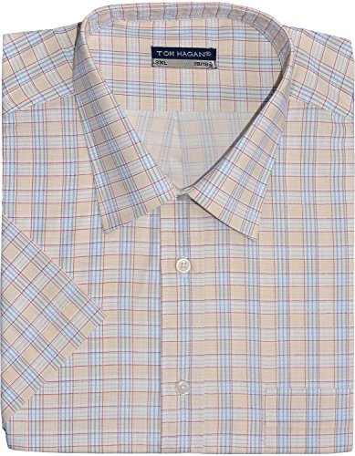 Tom Hagan Men's Formal Shirts Short Sleeve Check Pattern Squares XXXX-Large (Toms Wear Button Up Shirt)