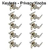10 Pack Probrico Privacy Door Locks Door Lever Storage Room Bathroom Keyless Door Knobs Lockset Locking with turn buttons Satin Nickel Door Lever-815