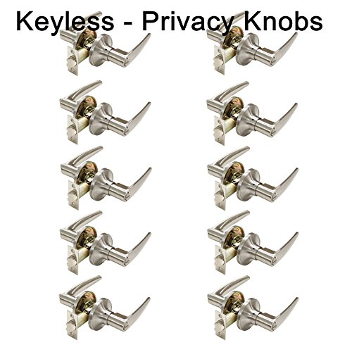 10 Pack Probrico Privacy Door Locks Door Lever Storage Room Bathroom Keyless Door Knobs Lockset Locking with turn buttons Satin Nickel Door Lever-815 by Probrico