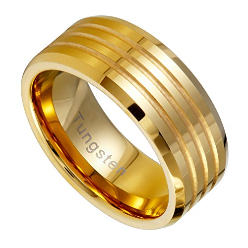 Urban Jewelry Striped Gold Color 9 mm Solid Tungsten Wedding Engagement Band Ring for Men (11)