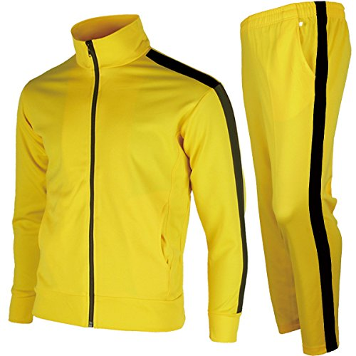 Training Male Suit (myglory77mall Men's Running Jogging Track Suit Jacket and Pants Warm Up Pants Gym Training Wear S US(L Asian Tag) Yellow One Line)