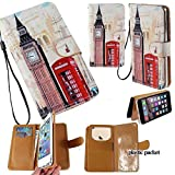 Universal PU Leather Strap Case/Purse/Clutch Fits Apple Samsung LG etc. Big Ben London Phone Booth -Small. Magic Sticker Attaches Phone to Wallet. Strong Adhesive/Easy Remove. Fits Models Below: