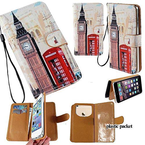 (Universal PU Leather Strap Case/Purse/Clutch Fits Apple Samsung LG etc. Big Ben London Phone Booth -Small. Magic Sticker Attaches Phone to Wallet. Strong Adhesive/Easy Remove. Fits Models Below:)