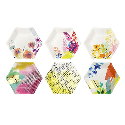Talking Tables Fluorescent Floral Hexagonal Floral Vibrant Disposable Plates, 12 count, for a