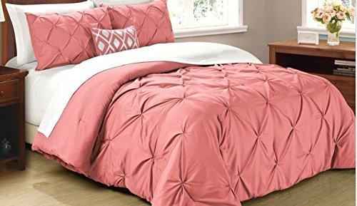 Cathay Home Oasis Pintuck Comforter Set, King, Coral (Renewed)