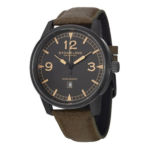 Baby G Baby Bracelet - Stuhrling Original Men's 1129Q.03 Condor Date Stainless Steel Watch With Green Leather Band