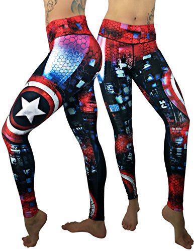 Costumes Spats (Captain America Superhero Leggings Yoga Pants Compression Tights)