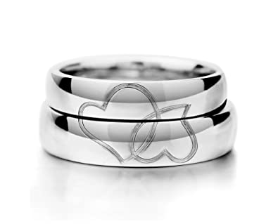 Matching His and Her Split Hearts Bride Groom Wedding Bands for