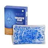 Multi-purpose Cold & Hot Compress Therapy Reusable Gel Beads Pack for Pain Relief, Sports Injuries, Swelling 7.3'' X 4.5'' (Fabric Covered)