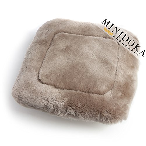 Sheepskin Seat Cushion - Australian Sheepskin Seat Pad, Thick Short Wool for Maximum Comfort, Natural Leather for Premium Fit, Non-Slip Backing, Tan, 20 x 20, Minidoka Sheepskin