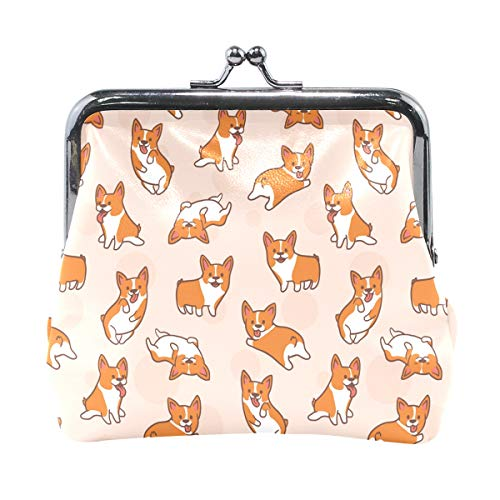 JERECY Corgi Dog Pattern Coin Purse Leather Mini Clutch Pouch Wallet for Women Girls