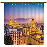 iPrint Shower Curtain,Cityscape,City Skyline in Spain Old Mediterranean Touristic Historic Nostalgic Print Home,Multi,Polyester Shower Curtains Bathroom Decor Sets with Hooks